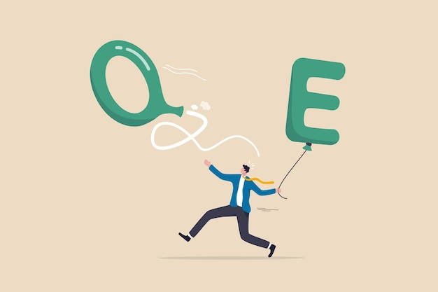 Qe tapering fed, federal reserve stop or reduce quantitative easing policy when economic recovered with stock market impact concept, panic businessman run to catch deflate balloon with alphabet qe.