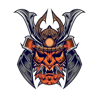 Голова самурая на qhite