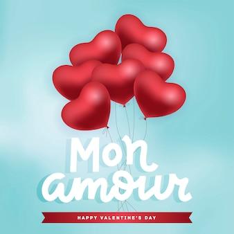 Букет из красных воздушных шаров, летающих в небе. с днем святого валентина открытка с рукой надписи qoute - mon amour. векторная иллюстрация реалистичные
