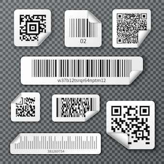 Qr bar codes stickers set
