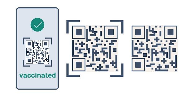 Qr code about vaccination against covid the electronic code is in phone