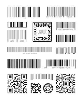 Qrコード。バーコードスキャン製品シンボルレーザーコードメッセージベクトルセット。イラストコードスキャン、qrおよび番号追跡またはスキャンストライプ