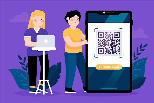 Qr code and characters on their laptop