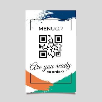 Qr code colorful menu in memphis style
