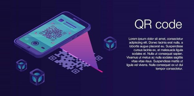 Qr code concept banner, isometric style