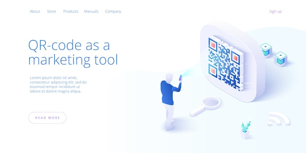 Qr code concept landing page in isometric landing page