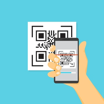 Qr code concept. scan code using smartphone