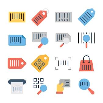 Qr code flat icons pack