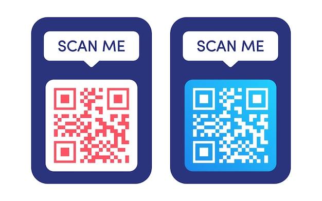 Qr 코드 프레임 벡터 세트 스캔 나 태그 qr 코드는 바코드 스마트폰 id 아이콘 모바일 결제를 조롱하고