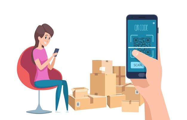 Qr код. девушка находит информацию о посылках с телефоном и векторной иллюстрацией идентификации штрих-кода