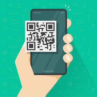 Qr code icon on mobile phone or smartphone screen in person hand flat cartoon illustration