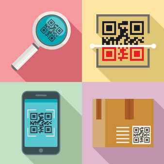 Qr code icons set, flat style