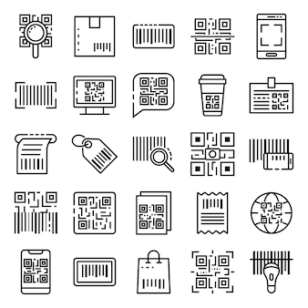 Qr code icons set, outline style