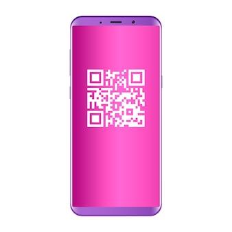 Qr-код на экране мобильного телефона. плоская концепция.