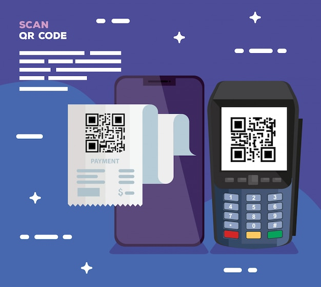 Qr code inside dataphone and smartphone design of technology scan information business price communication barcode digital and data theme vector illustration