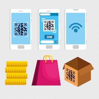 Qr-код внутри смартфона монеты мешок и коробка вектор дизайн