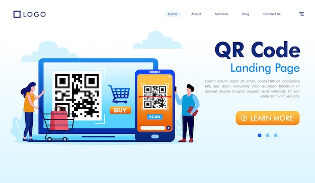 Qrコードのランディングページのウェブサイトイラスト