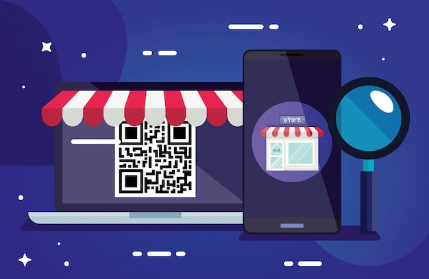 Qrコードラップトップスマートフォンと技術のルーペデザインスキャン情報ビジネス価格通信バーコードデジタルとデータテーマベクトルイラスト