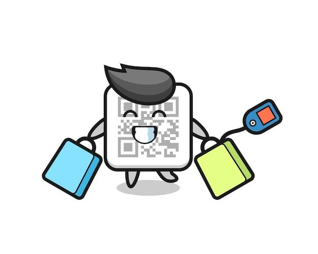 쇼핑백을 들고 있는 qr 코드 마스코트 만화, 귀여운 디자인