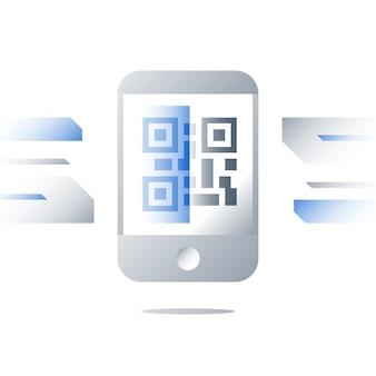 Qr-код на иллюстрации экрана мобильного телефона