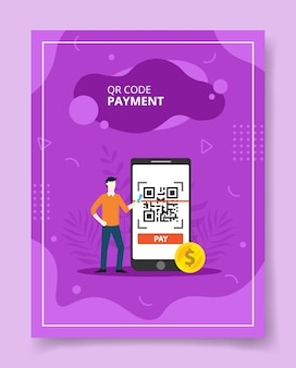Qr code payment man stand near big smartphone with qr code on display for template of flyer