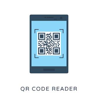 Qr code reader flat vector icon