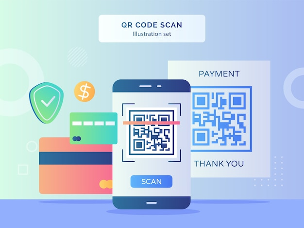 Qr code scan illustration set qr code on display smartphone screen background of bank card shield dollar with flat style design