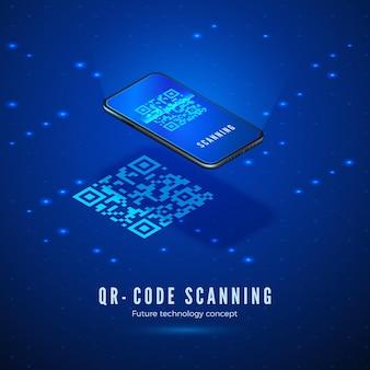 Изометрическая концепция сканирования qr-кода. мобильный телефон со сканированием цифрового штрих-кода на экране.