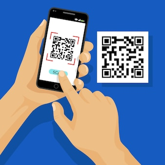 Qr code scan on smartphone concept