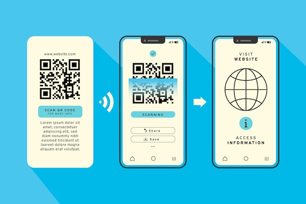 スマートフォンのコンセプトのqrコードスキャン手順