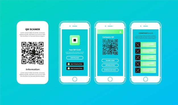 Qr code scan steps on smartphone concept
