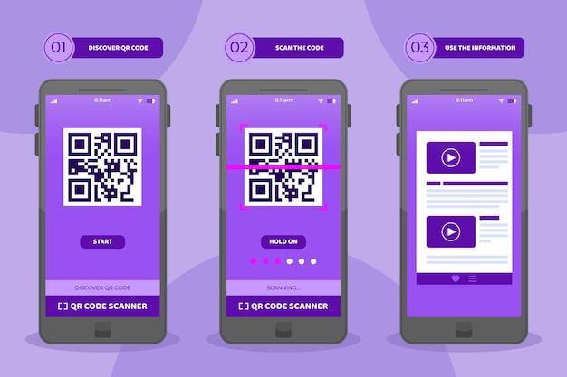 Qr code scan steps on smartphone set