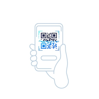 Qr code scan vector icon with phone