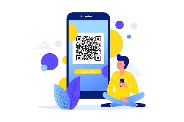 Qr code scan with character concept