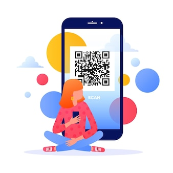 Qr code scan with character design