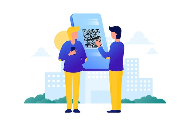 Qr code scan with character illustration