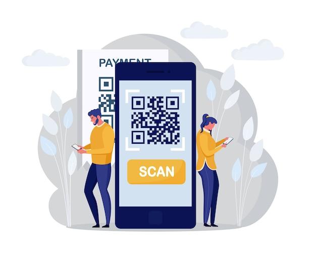 Qr 코드 스캔 개념. 캐릭터는 휴대폰을 사용하고 온라인 결제를 위해 바코드를 스캔합니다. 디지털 머니 앱. 만화 디자인