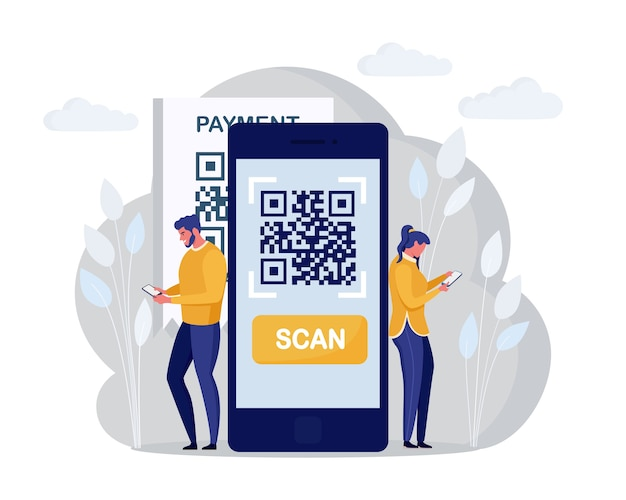 Qr code scanning concept. characters use mobile phone, scan barcode for online payment. digital money app. cartoon design