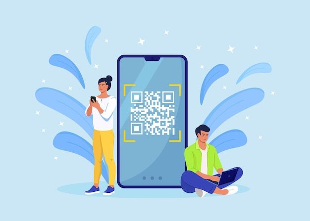 Qr code scanning concept. characters use mobile phone, scan barcode for online payment.