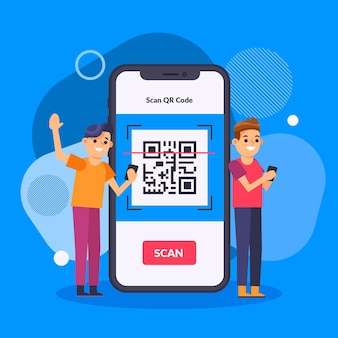 Qr code scanning concept with characters illustrated