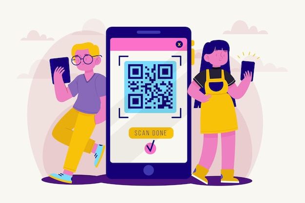 Qr code scanning concept with characters