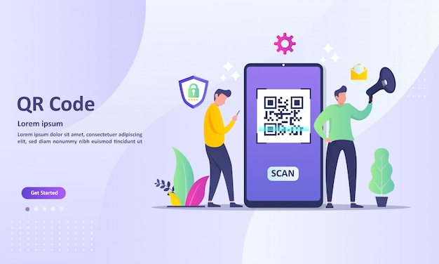 Qr code scanning concept with people scan code using smartphone