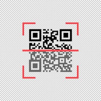 Qrコードスキャンアイコン。孤立した白い背景の上のベクトル。 eps10。