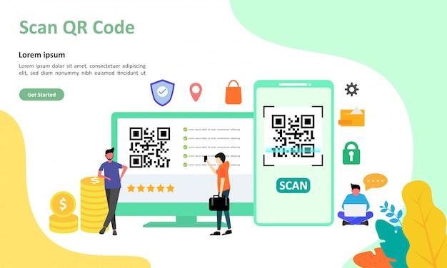 Qr code scanning vector illustration suitable for web landing page