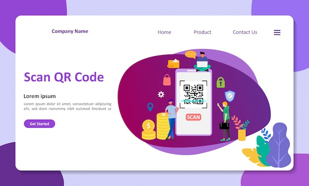 Qr code scanning vector illustration подходит для веб-целевой страницы