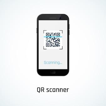 Сканирование qr-кода с помощью мобильного телефона. иллюстрация