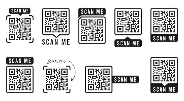 Qr 코드 세트 텍스트가 있는 프레임 템플릿은 저와 qr 코드를 스캔합니다. 빠른 응답 코드 벡터