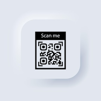 Qr code for smartphone icon. qr code for payment. inscription scan me with smartphone icon. neumorphic ui ux white user interface web button. neumorphism. vector eps 10.