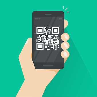 Qr code on smartphone or mobile phone screen  flat cartoon