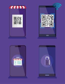 Qr code and smartphones vector design
